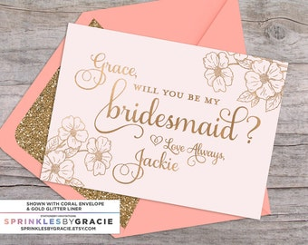 Blush and Gold Customized Will you be my Bridesmaid Card with Glitter Lined Envelopes