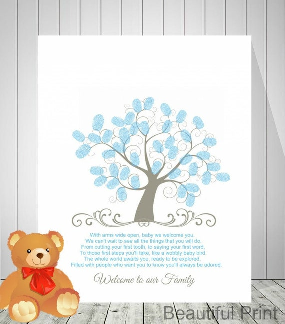 Baby Shower Guest Book Boy ~ Baby shower guest book fingerprint tree boy by