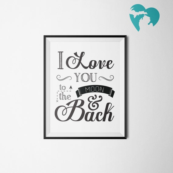 Nursery Decor   I Love You to the Moon and Back   Babies Room   Children   Instant Download