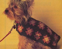 Crochet DOG SWEATER Pattern Vintage 70s Granny Square Dog Sweater Blanket Pet Granny Dog Cape Pattern
