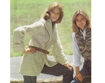Aran Cardigan Pattern Vintage 70s Coat Pattern Sweater Pattern Jacket Pattern KNITTING PATTERN