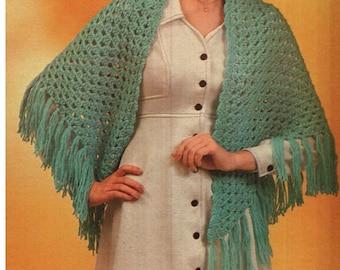 CROCHET SHAWL PATTERN Vintage 70s Easy Crochet Poncho Pattern Bohemian Clothing Crochet Wrap Pattern Crochet Tribal Poncho Pattern