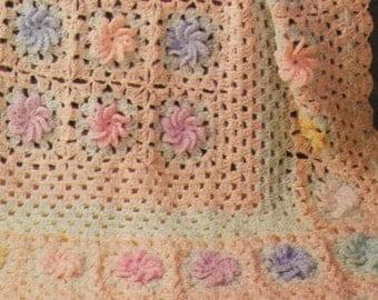 Crochet BLANKET Pattern Vintage 70s Crochet Granny Square Baby Blanket Pattern