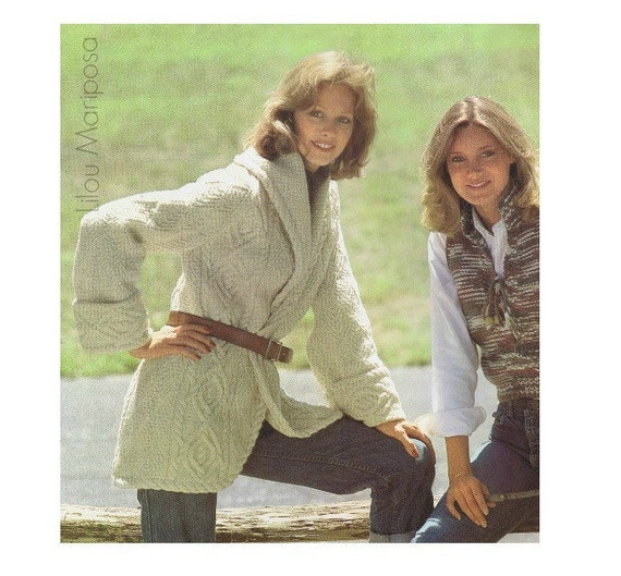 Vintage Aran Cardigan Knitting Pattern : Aran Cardigan Pattern Vintage 70s Coat Pattern Sweater Pattern