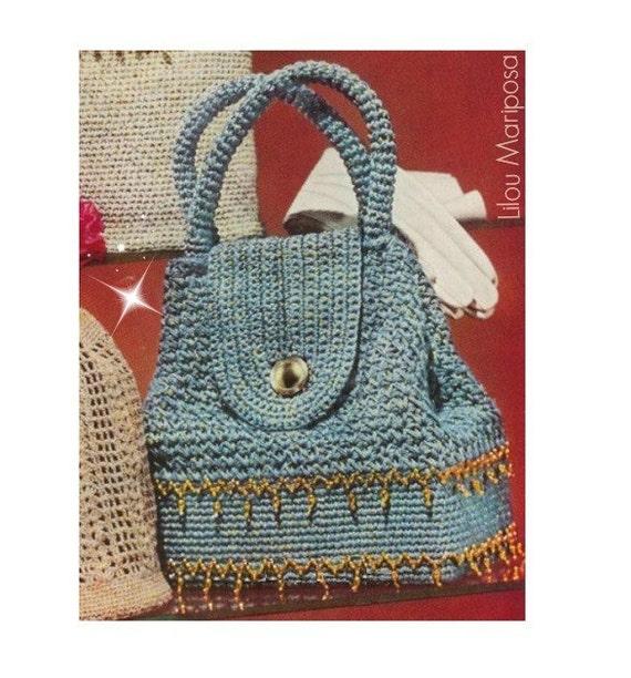 Crochet Pattern Vintage 50s Sparkling Sailor Crochet Handbag