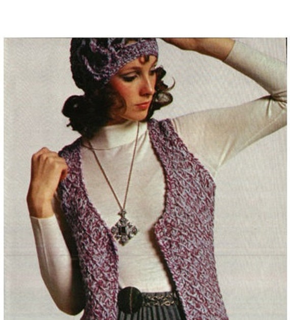 Crochet Pattern Vintage 70s Boho Knitted Vest Crochet Hat