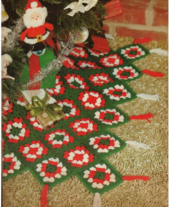 Crochet CHRISTMAS TREE SKIRT Pattern Vintage 70s Granny Square Tree Skirt From Liloumariposa On Etsy Studio