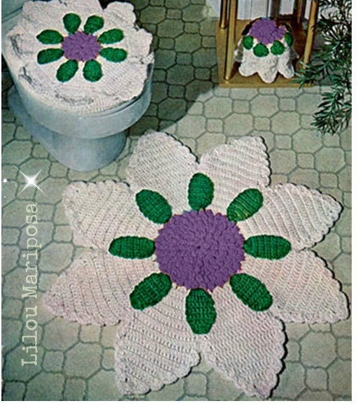 Crochet Pattern Crochet RUG Pattern Bathroom Set Toilet Cover