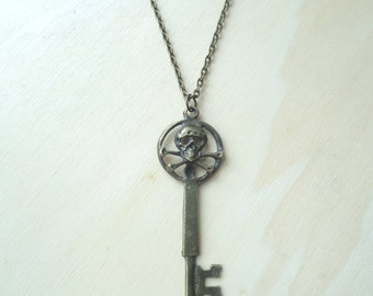 Skull Necklace - Skeleton Key Necklace - Skull and Crossed Bones Pendant - Gothic Jewelry - Halloween - Gifts