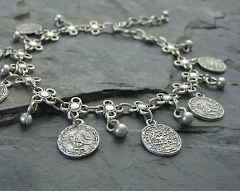 Ethnic Coin Anklet or Bracelet - Coachella Anklet, Silver Bohemian Bracelet, Boho Anklet, Gypsy Style, Belly Dancer