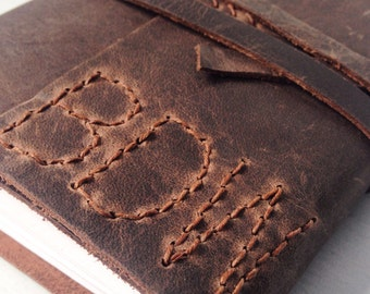 Custom sketchbook, notebook, travelers notebook, leather bound notebook, A6 brown leather travel gift, personalised monogram optional