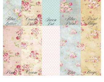 Printed Shabby Chic Edible Wafer Paper Sheets. MIX AND MATCH.  Vintage spring, floral prints, Shabby Chic