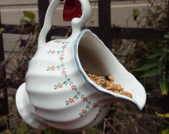 Quirky bird feeder, bird lovers gift, garden ornament, vintage bird feeder, gift for her, jug bird feeder, garden decor, china bird feeder.