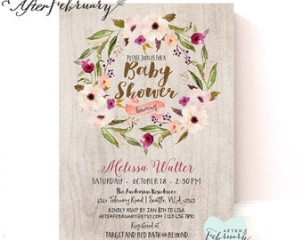 Boho Baby Shower Invitation // Watercolor Autumn Fall Rustic Fall Baby Shower Plum Beige Purple Brown // Printable OR Printed No.1030BABY