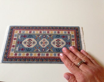 Miniature hand embroidered rug/carpet, 1/12 scale, Cabistan