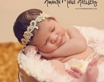 Champagne Gold Beaded Headband. Choose your size. Baby, girls, newborn, special occasion, photo prop.