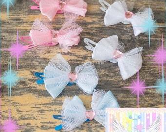 Kawaii Pastel Bow Hair Clips - Choose Color