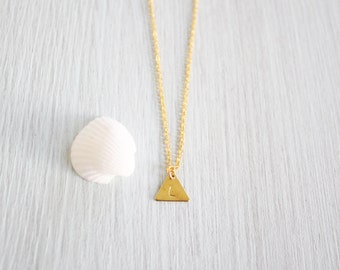 Tiny Gold Triangle Initial Necklace - Hand Stamped Initial Necklace - Triangle Necklace - Gold Plated/14k Gold Fill Personalised Necklace