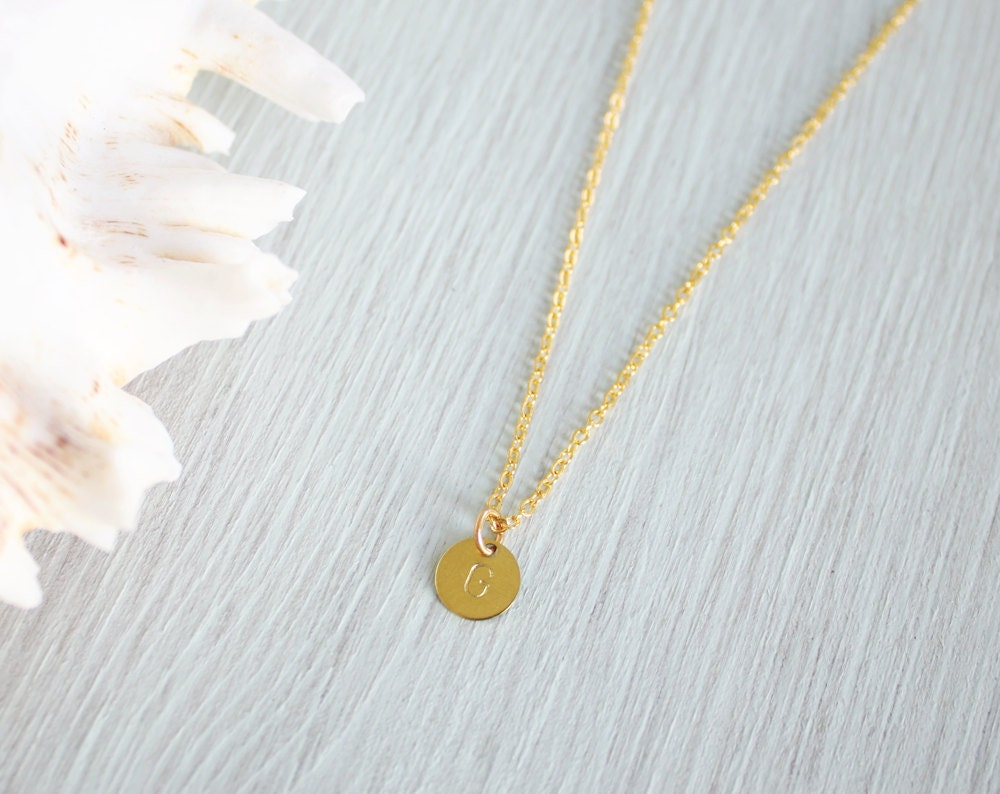 tiny gold circle initial necklace small by