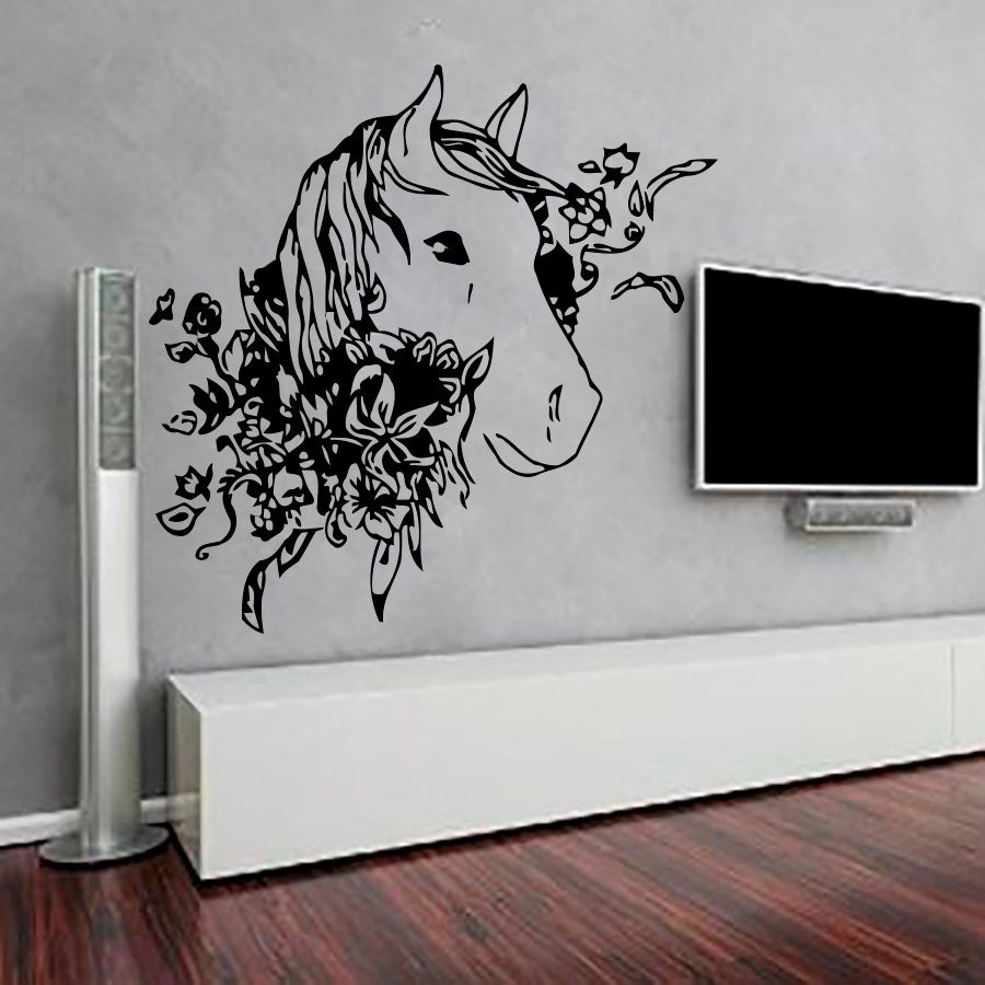 Wall decals horse decal vinyl sticker flowers by cozydecal for Horse wall decals