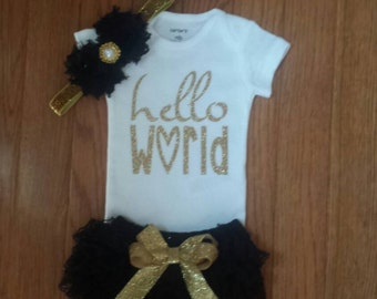 "Ready to ship Gold Glitter Vinyl ""Hello World"" Onesie, Black Lace Bloomers,& Headbnd Set, baby girl, newborn,hospital outfit,take home set"