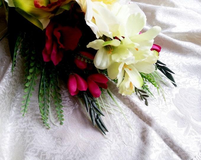 Wild tropical flowers orchid amaryllis freesia gladiola wedding cascade BOUQUET satin ribbon green dark pink fuchsia beach