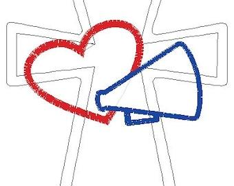 Raggy Cross Heart Megaphone 5x7 Embroidery Design