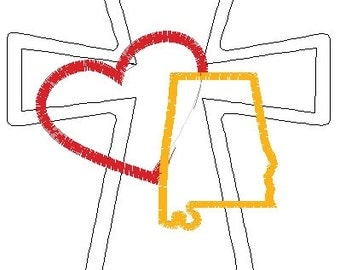 Raggy Cross Heart Alabama 5x7 Embroidery Design