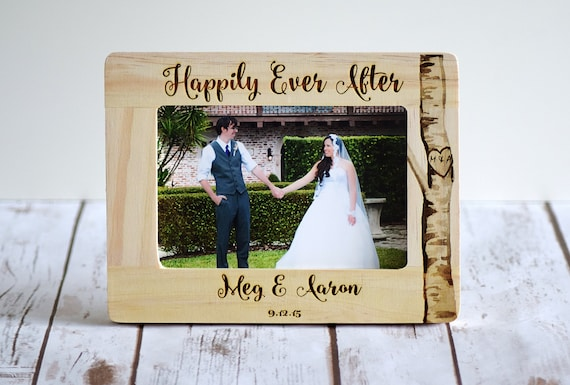 Wedding Engraved Photo Frames : Personalized Wedding Gift, Engraved Frame, Happily Ever After ...