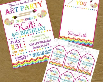 Paint or Color Birthday Party PACKAGE - Invite, Thank You Note and Tags