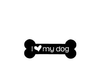 I Love My Dog/I Heart My Dog Bone Vinyl Decal/Sticker