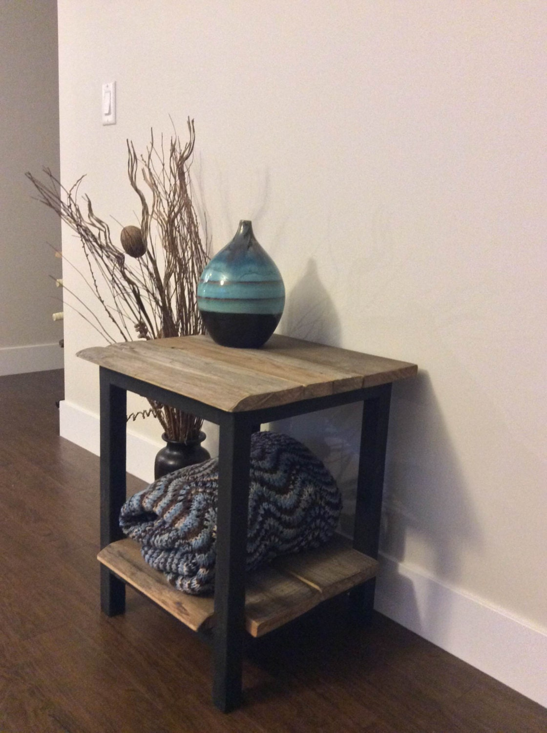 reclaimed wood side table end table bedside table