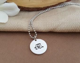 Tiny Tree Stump Necklace | Heart In Tree Necklace | Dainty Tree Necklace | Simple Necklace For Her