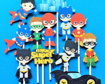 Superhero cupcake toppers, 12 superhero cupcake  toppers, super hero themed party, Batman toppers, Superman toppers, Spiderrman toppers