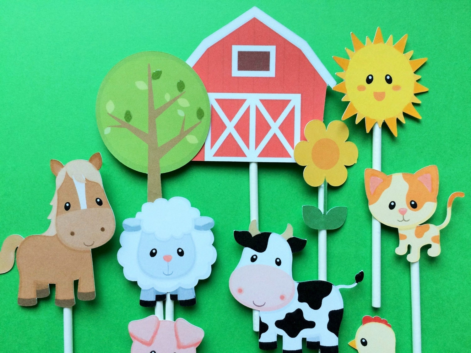 Farm animals cupcake toppers 15 farm animal cupcake toppers