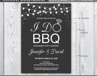 i do bbq invitation / i do bbq couples shower / i do bbq engagement party / i do bbq invite / bbq engagement invitations / engagement party
