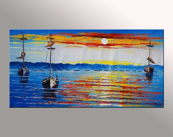 Oil Painting, Large Painting, Canvas Painting, Original Painting, Oil Painting Boats, Seascape Painting, Heavy Texture, Palette Knife Art