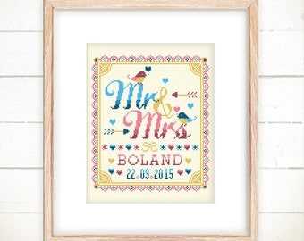 Wedding cross stitch pattern - Mr and Mrs with Love Birds(Deep Love ver) -Xstitch Instant download- Announcement Personalised Marriage Gift