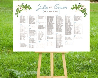 The JANE . Seating Chart Alphabetical Table Names Wedding Sign . Printed on Heavy Paper, Foam Board or Canvas . Dusty Miller Blue Anemone