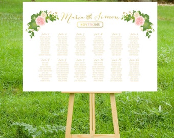 The JULIE . Seating Chart Wedding Table Names Sign . Heavy Paper, Foam Board or Canvas Gold Calligraphy Blush Rose Dahlia Peonies Hydrangea