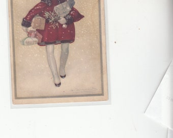 Savvy Looking Art Nouveau Girl In Red Coat W Christmas Presents In Snow A/S Mauzin,Antique Postcard