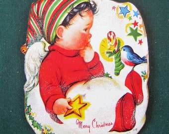 Boy Angel Ornament Wooden Handcrafted, Christmas Bluebird, Stocking Cap, Sunday School Gift, Candy Cane, Striped Sock, Son Grandson Gift