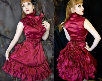 Victorian Satin Mini Bustle Skirt