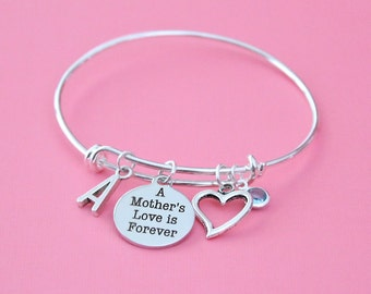 Personalized Mother Bracelet Adjustable with your Initial & Birthstone