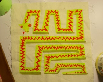 Neon Geometric Snake - Patch
