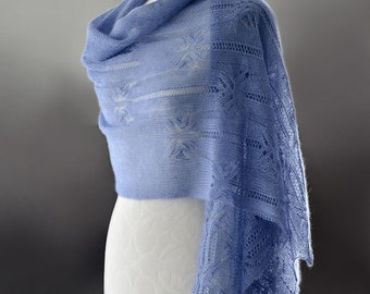 Knitted lace scarf, silk and mohair lace scarf, lace stole, shawl in blue colour 'Butterfly'