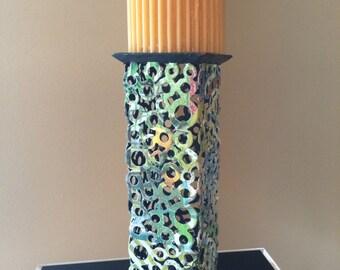 Candle Holder,  Metal Candle Holder, Multi-colored Metal Candle Holder, Modern Candle Holder, Column Candle Holder