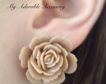Large Beige Flower Stud/Post Earrings