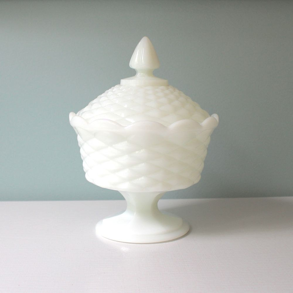 Milk Glass Candy Dish Covered Pedestal Bowl White by ...