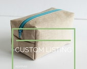Custom Listing | Reserved for Kim | Boxed Beige Linen Cosmetic Bag | s/f Designs